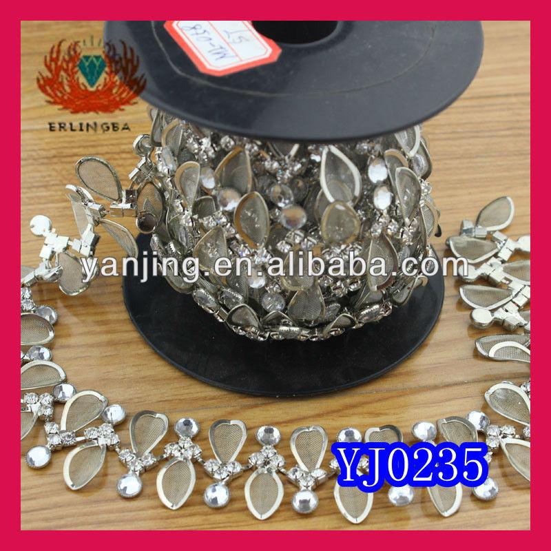 square crystal rhinestone chain roll