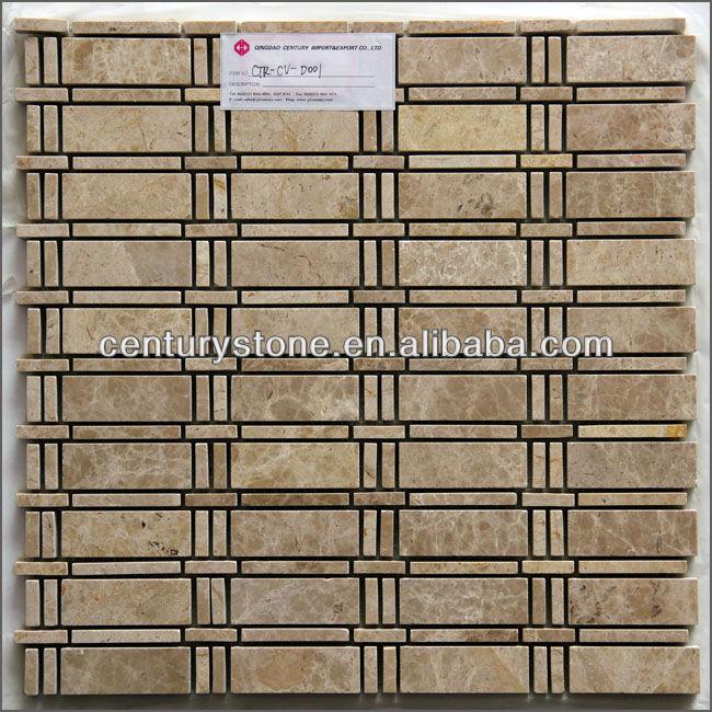 Crema marfil liner striscia di mosaico di marmo piastrelle di ...