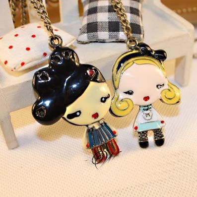 Free Shipping Wholesale Lovely Black Hair and Blond Little Girl Necklace   D201