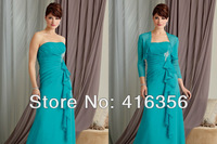 Платье для матери невесты Best Selling Elegant Slim A-Line Strapless Beaded Floor Length 2013 Chiffon Mother Of The Bride Dress With Jacket G-007