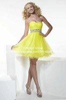 великолепный уникальный дизайн Милая бисером органзы мини-ярко желтый коктейльные платья низкой задней sh069