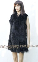 Женский жилет CX-G-B-74C Genuine Rabbit Hand Knitted Fur Vest Fashion Top~ DROP SHIPPING