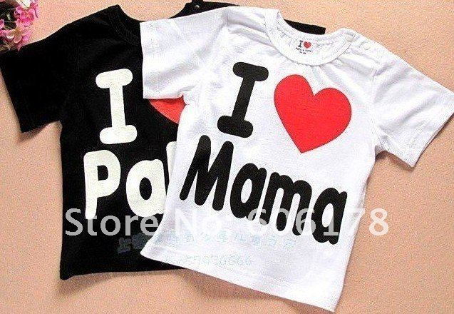 Free shipping Baby clothes baby shirt/T-Shirt boy & girl Short-Sleeve Shirt I love papa mama t-shirt