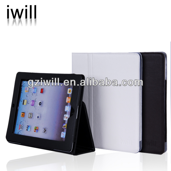 guanzghou factory table stand leather case for ipad.all leather case for ipad 3