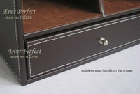 3/layer desktop leather cosmetic makeup jewelry sundries storage box organizer holder brown A257
