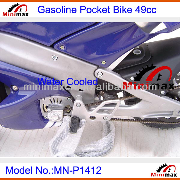 "Gasoline Water cooled Pocket Bike MN-P1414 2 stroke 49cc Pull Start Max Speed 60km/h with 10"" rubber wheel"