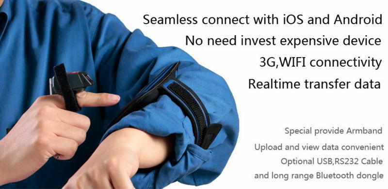 GENERALSCAN Tiny wireless GS-R1000BT 1D laser bluetooth Ring Barcode Scanner