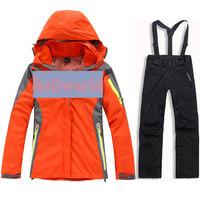 Женская куртка 2013 new Women's two pieces sport suit, female outdoor ladies' winter ski snow suit, hoodie jacket, strap pants Wind&Water-proof