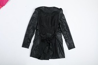 Nice quality 2013 autumn&winter black leather coat for woman, casual leather trench coat /windbreaker, size M, L, XL