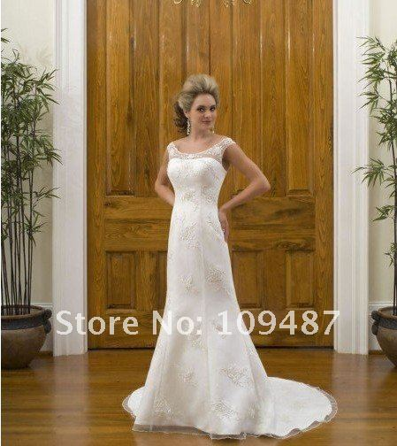 supplier custom-made high quality hot sales mermaid cap sleeve satin simple wedding dressses for bridal