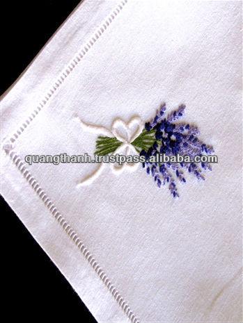 Hand hemstitched napkin, embroidered napkin, embroidery napkin, white cotton napkin, 100% cotton napkin