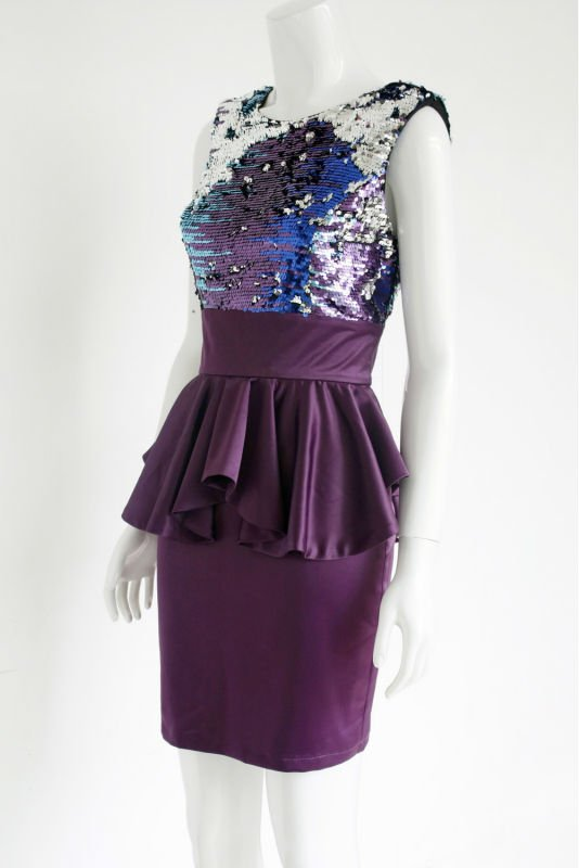 Ladies' Fashion Sequin Dress;Peplum Dress;Bodycon Dress with deep-V Back for 2013
