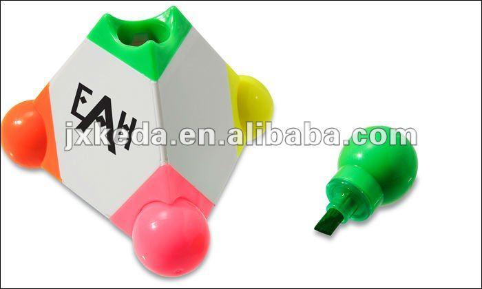 Solid Multicolor Highlight Marker Pens Pyramid Highlighter