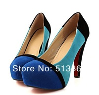 Туфли на высоком каблуке 2013 spring all-match color block decoration high-heeled single shoes velvet platform ultra high heels shallow mouth shoes