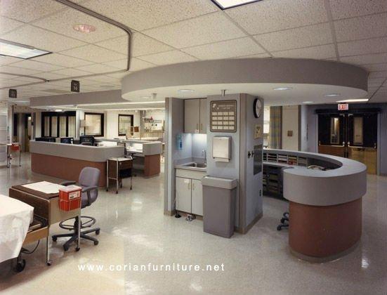 Solid Surface Formica Laminated Designed Hospital Health Care Center Nurse Station Counter