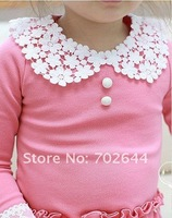 Платье для девочек New autumn fashion baby girl's Long sleeve Lace collar dress, children's clothes, 5pcs/lot