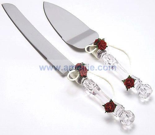 Crystal Red Roses Wedding Cake Knife Server Serving Set2.jpg