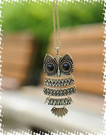 Free Shipping Wholesale Korea Adorn Article, Ancient Ancient Silver and Bronze Owl Necklace,Ancient the Owl Sweater Chain D196