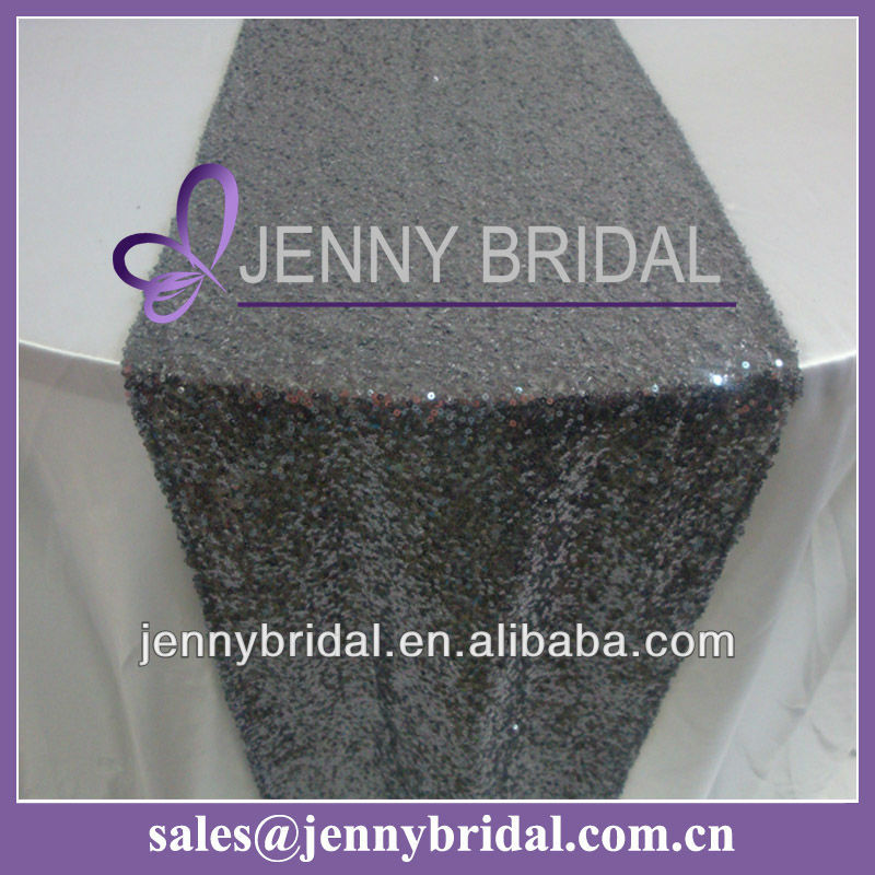 TR064#7 Grey sequin beaded table runner