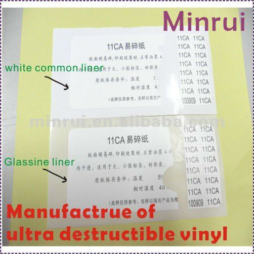 A4 Blank Ultra Destructible Vinyl,Adhesive Fragile Papers on Rolls/Sheets,Tamper Evident Label Materials for Security Stickers