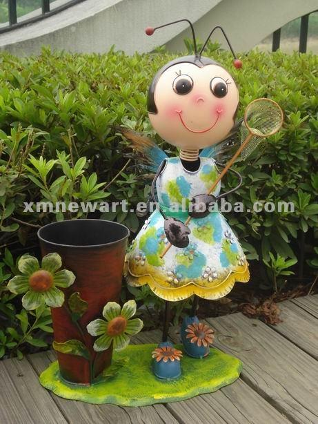 Jardin En M Tal Coccinelle D Coration Avec Pot De Fleur