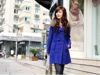 2013 Hot selling medium-long trench woolen outerwear double breasted casual overcoat fur collar feminino women's dresses