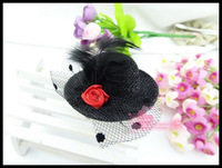 Детский аксессуар для волос 2013 Rose dancing bow feather small hat hairwear hair accessories hairpin for children 5pcs/lot