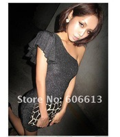 Sexy Women Fashion Lotus Leaf Sleeves Demitoilet Black Silver Cotton Party Dress Free Shipping