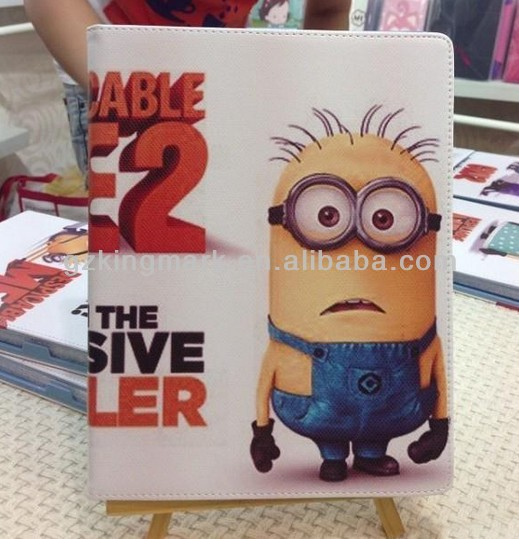 Lovely for ipad mini despicable me minion leather case