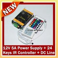 Трансформатор освещения 1pc 24 Keys IR Remote Controller +1pc 12V 5A led power supply for RGB Led Strip
