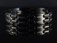 Christmas gift b464 Doule Row Greek Key Black Stainless Steel Bracelet
