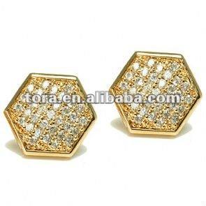 Bisuteria de moda para hombre unisex de oro micro pave pendientes hexagonales para chicos