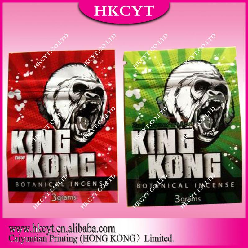 Kingkong herbal incense bag with zipper