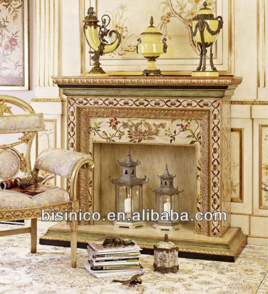 Elegante living room decor chimenea, Clásica de madera con pintura ...
