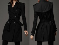 British style double breasted slim windbreaker coat jacket, long coat jacket for lady/ladies clothes,fasion overcoat