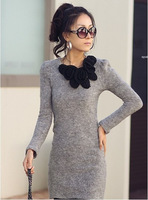 Mini Long Sleeve Sweater Butterfly Flower Woollen Short Skirt Dress drop shipping Free shipping W1307
