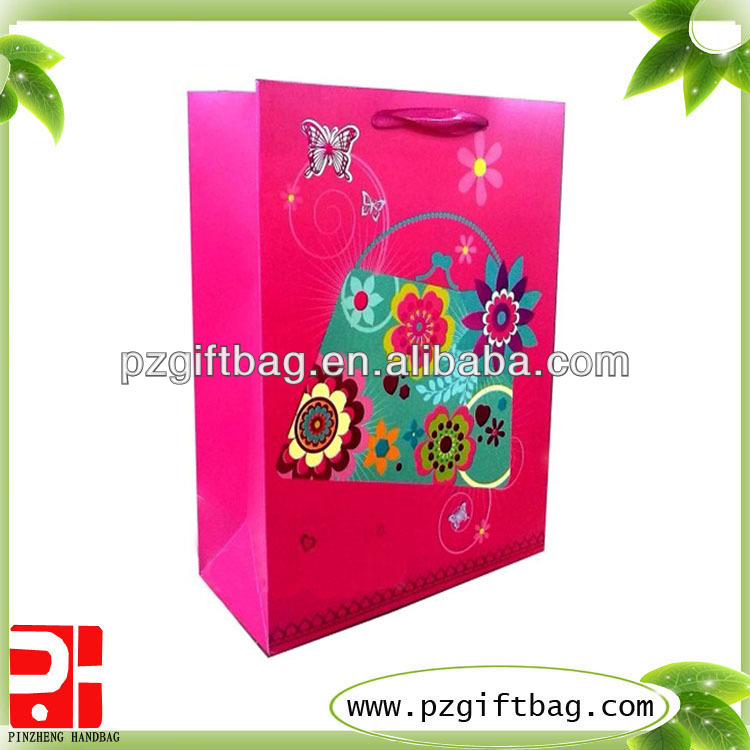 flower design luxury paper printed shopping bag
