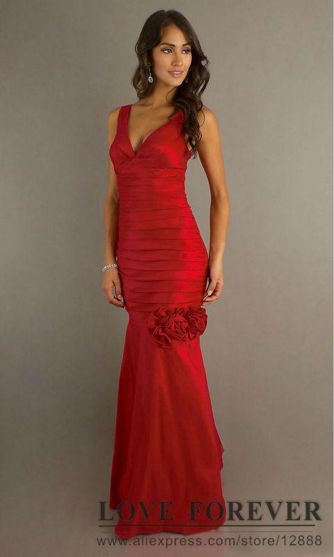 Elegant long evening dress Sexy Deep V-neck Pleated 2013 Designer Prom Dress Red Party Dresses