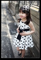 Retail dot girl dress  navy white kids dress 2~11Age Free shipping to all