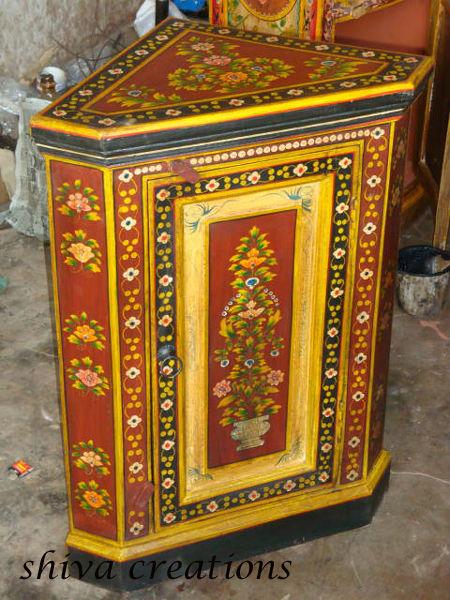 Peint la main en bois meuble d 39 angle indien meubles for Meuble india