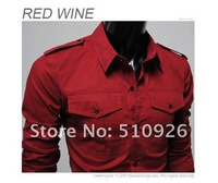 2012 Free Shipping Hot Sale,Men's Casual badges Shirt,Slim Fit Men's Dress Shirt,High Quality 3 Color Cotton Shirt Size S-M-L-XL