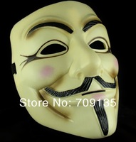 EMS freeshipping, guy fawkes V vendetta team pink blood scar yellow color masquerade mask Halloween carnival Mask(adult size)