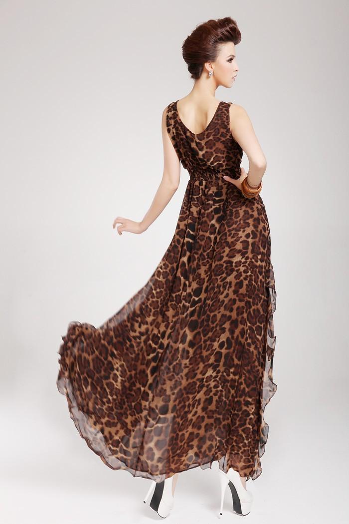 женщин леопарда печати шифон платья новой моды Весна зима сексуальный пляж рукавов ремень длинное платье ph1144