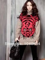 новые моды, вязание свитера Осень Белый my-120 для женщин tiger одежду loose базовый рубашку и розничная торговля