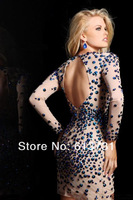 Коктейльное платье Best Selling 2013 Sexy New Long Sleeve V Neck Crystal Beaded Mini Short Nude Cocktail Dresses Open Back Prom Dresses 21046