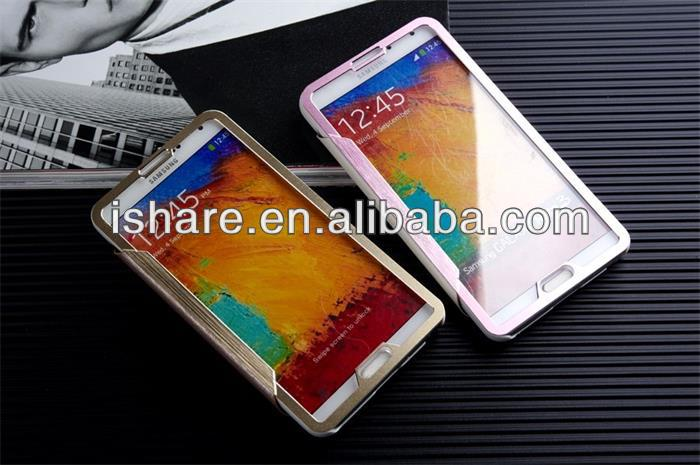 Metal Flip Cover leather case for Samsung Note 3 Metal Leather Case