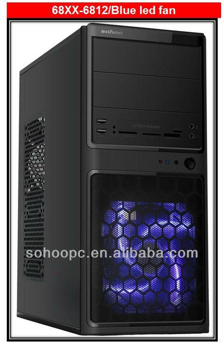 Micro ATX computer case mesh cover Blue Led fan-6812