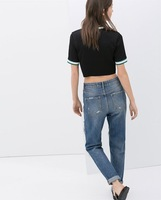Женские джинсы Women Bottoms Spring&Autumn Denim Blue Washed Bleached Ripped Scratched Cotton High-waist Jeans