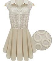 free shipping! bud silk chiffon summer new dress, collar sleeveless cut flowers splicing, women's dresses