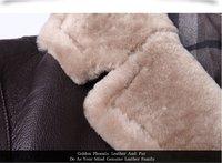 Мужской пуховик Christmas Gift Men's Genuine Sheepskin Leather Goose Down Jacket Warm coats for winter Lambswool Fur Collar Brand Clothing Brown